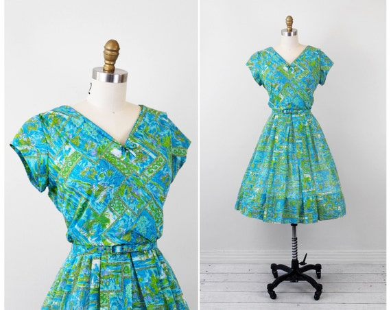 r e s e r v e d - vintage 1950s dress / 50s dress / Leslie Fay Blue and Green Novelty Print Cotton Dress with Matching Belt