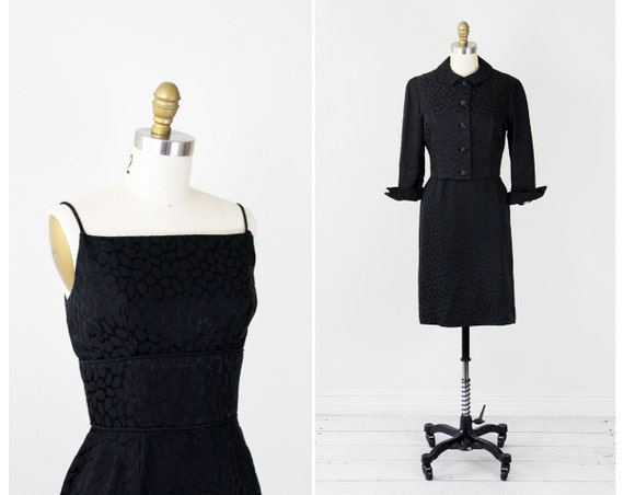 1950s dress / black 50s dress / Black Cocktail Wiggle Dress and Jacket Set