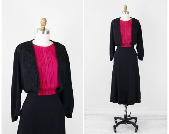 vintage 1930s dress / 30s plus size dress / Black and Pink Raspberry Art Deco Dress