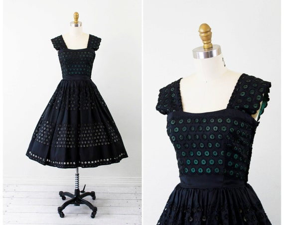 1940s dress / 50s dress / Black and Green Eyelet Taffeta Party Dress by Fred Perlberg