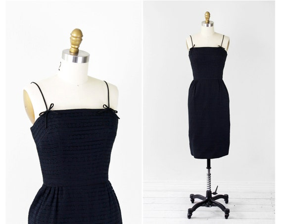 1950s dress / 50s dress / Mad Men Black Eyelet Wiggle Dress with Bows by Helen Whiting
