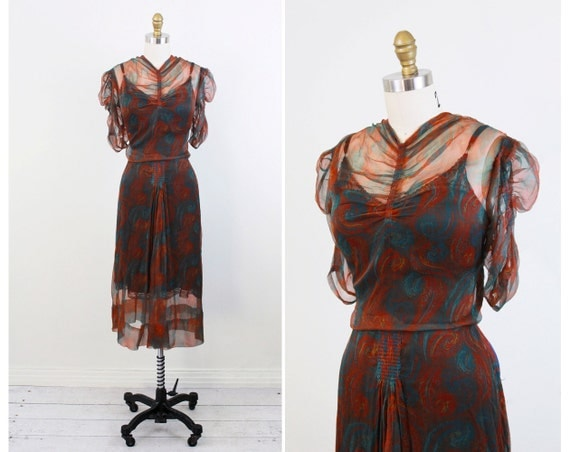 vintage 1930s dress / 30s dress / Teal, Brown, and Orange Feather Print Chiffon Dress with Crystal Blue Buttons