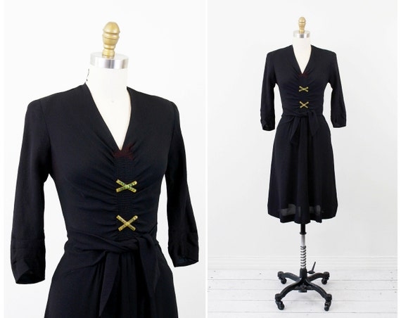 1930s dress / 30s dress / Black Swing Dress with Bakelite and Green Rhinestone Button Adornments