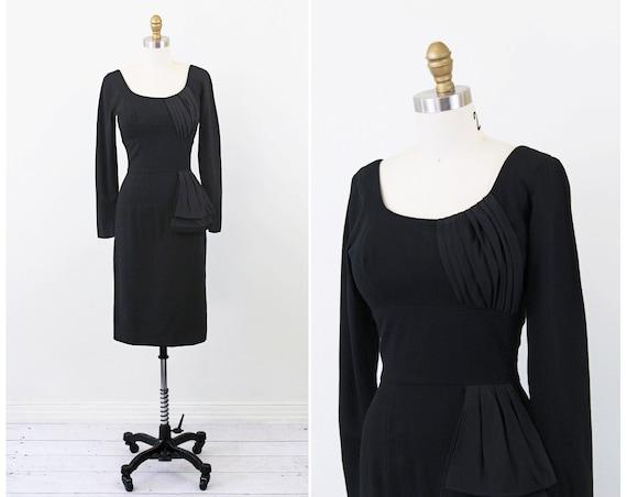 1950s dress / 50s black dress / Black Wiggle Cocktail Dress with Pleated Taffeta Sash