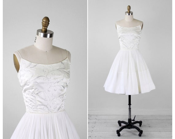 r e s e r v e d - vintage 1960s dress / 1950s wedding dress / White and Silver Chiffon Ballerina Wedding Prom Dress