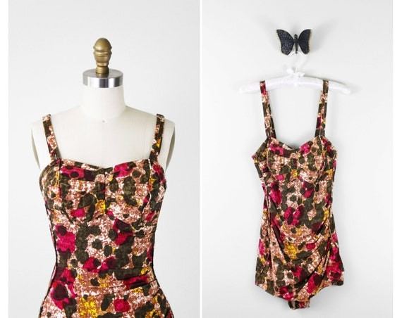 1950s bathing suit / 50s bathing suit / Pink and Green Pinup Swimsuit