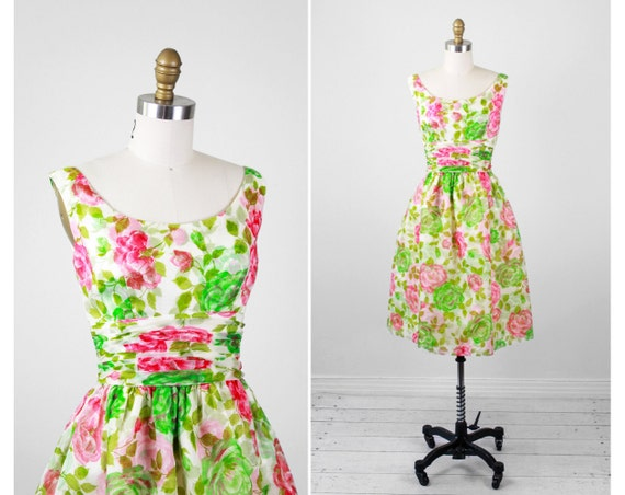 vintage 1950s dress / 50s roses dress / Pink, White, and Green Floral Roses Cocktail Dress