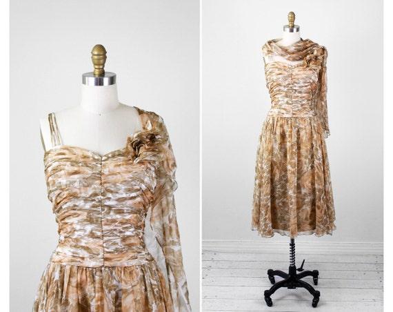 1960s dress / 60s dress / Tan and Taupe Roses Floral Silk Chiffon Dress