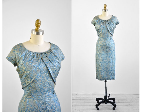 1950s dress / 50s plus size dress / Blue and Silver Damask Silk Cocktail Dress