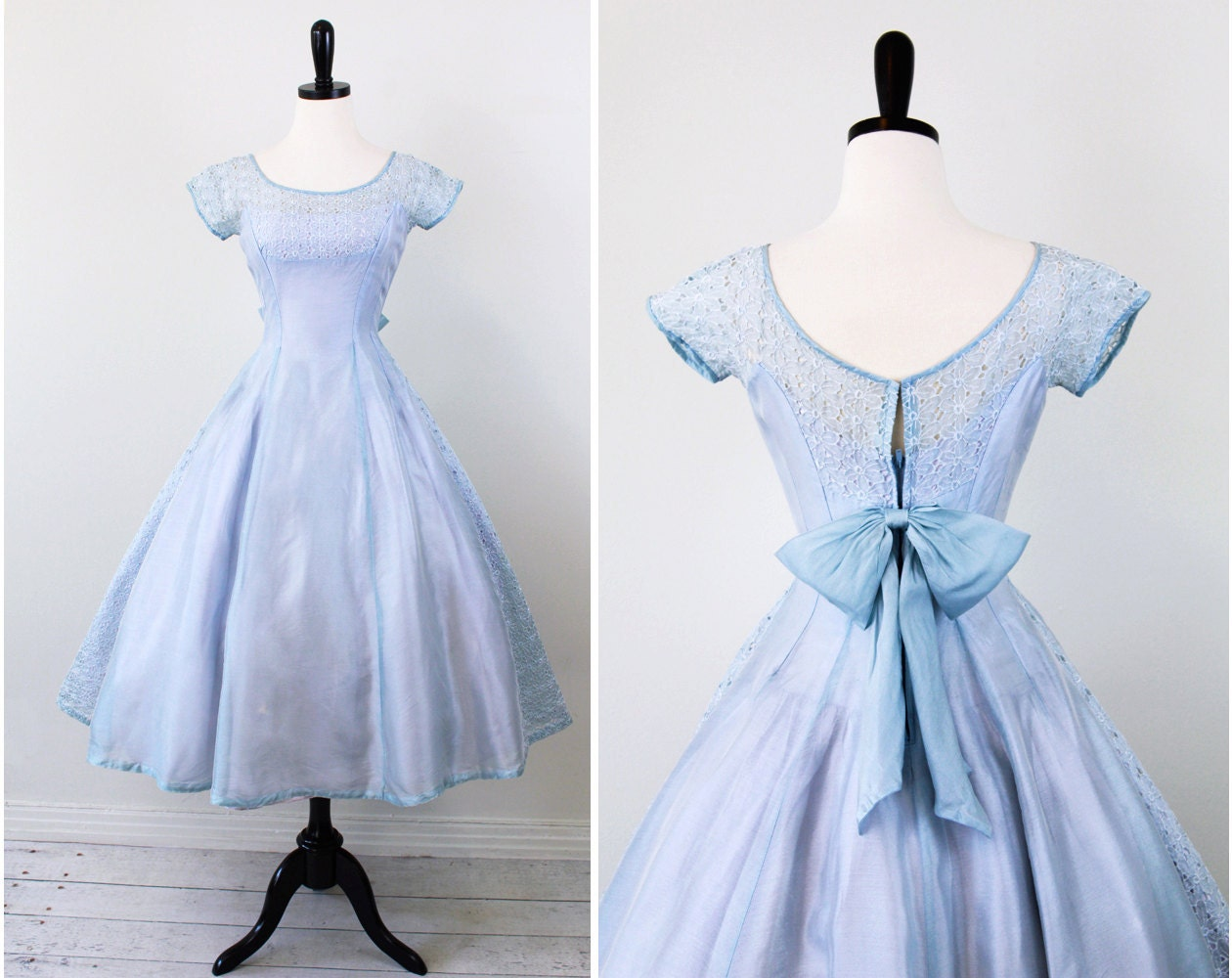 Vintage 1950s 50s dress sky blue and lavender by rococovintage