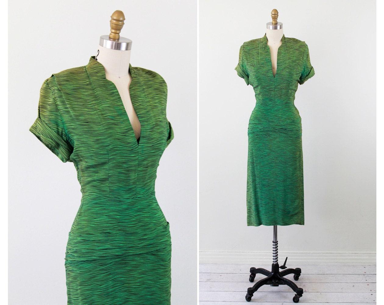 Vintage 1940s Dress Lime Green Zebra Print Wiggle Dress