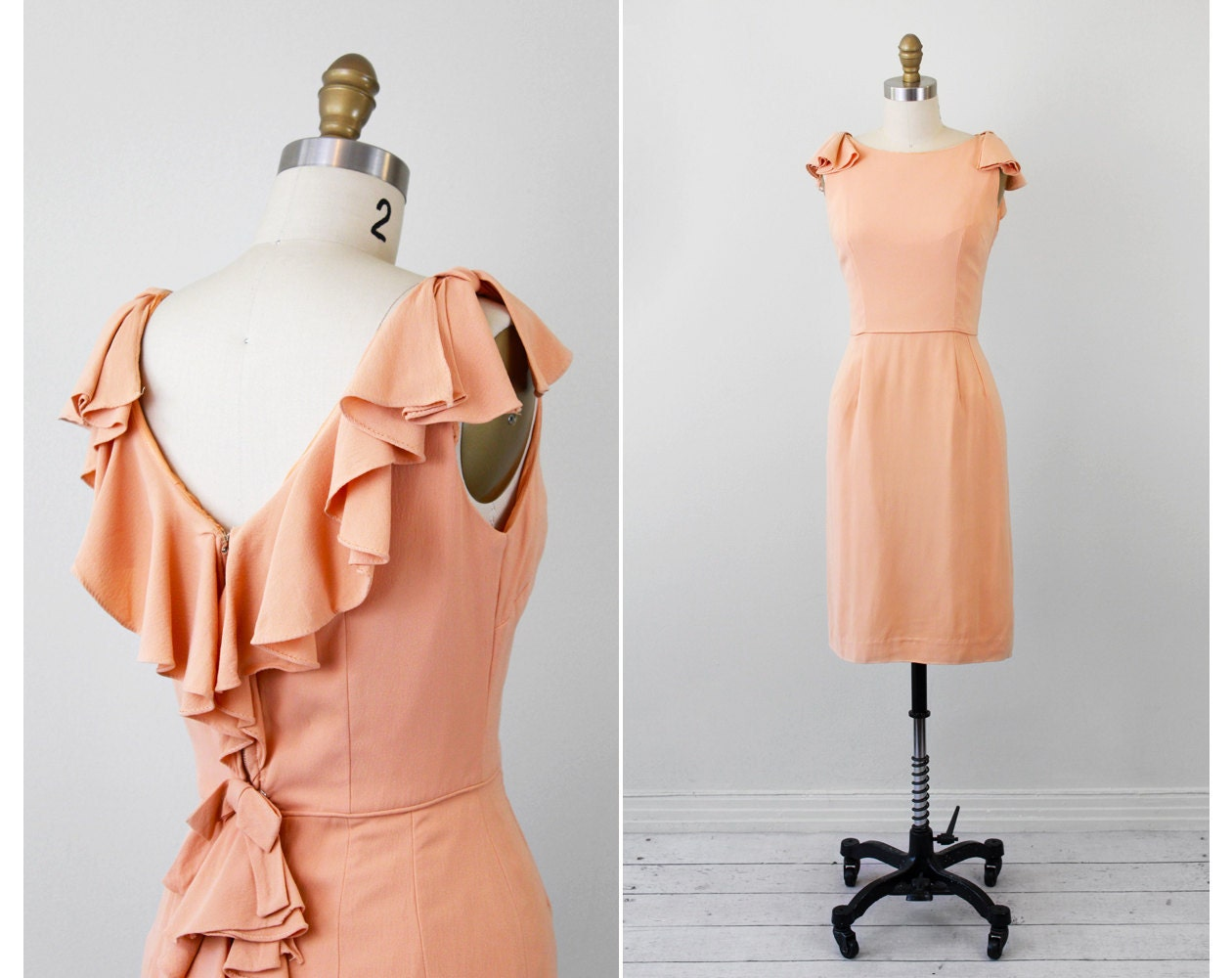 Vintage 50s 60s Dress // Peach Cocktail Dress With Dramatic