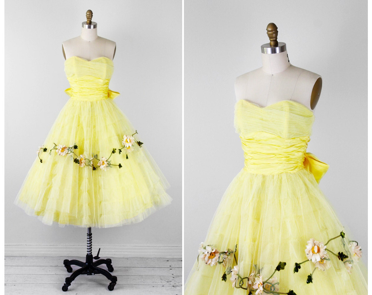 1950s Dress / 50s Prom Dress / Yellow Tulle Cupcake Dress With