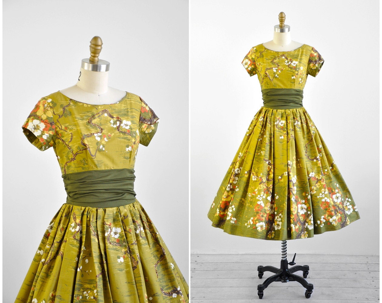 1950s Dress 50s Dress Green Japanese Floral Orange Blossom