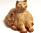 Cat Sculpture - Fat Cat Statue - Ceramic Pottery Smiling Cat - The Power of Resting Garden Kitty
