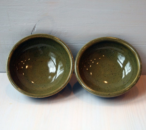 Prep Bowls - Pair of Small Olive Green Prep Bowls - Speckled Green Glazed Ceramic Chef Bowls SALE