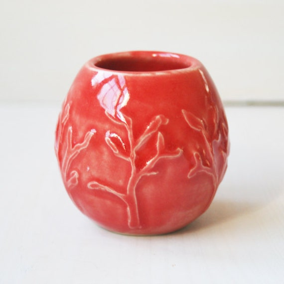 Little Red Vase Handmade Pottery Vase with Floral Relief Small Art Vase Ceramic Pottery Made In USA Ready to Ship