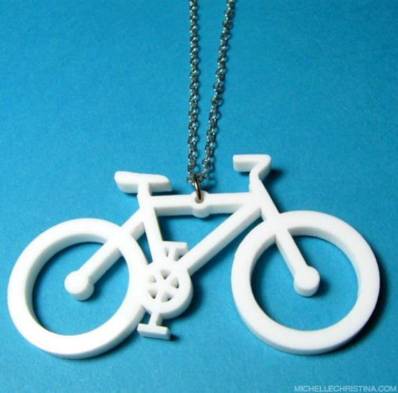 White Acrylic Bike Necklace
