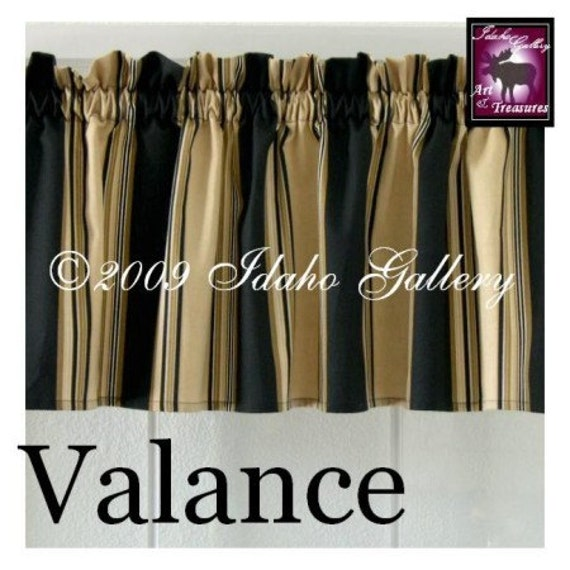 Home Decor Black Tan Cream Stripe Short Valance By