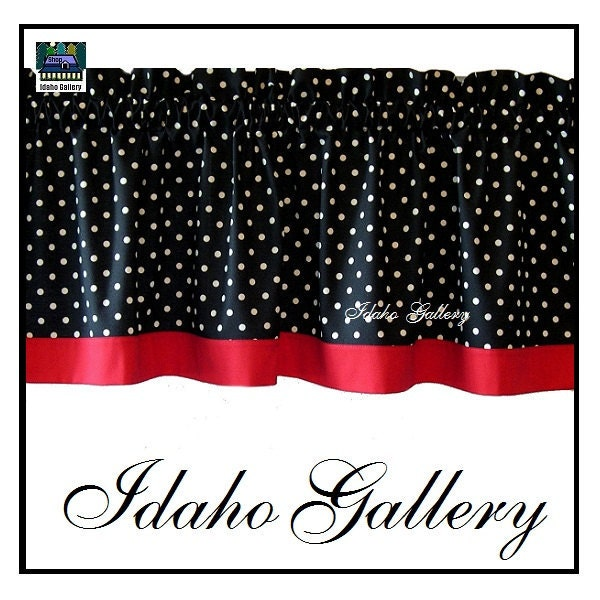 Red And Gray Kitchen Curtains: Polka Dot Black White Red Kitchen Curtain Or By IdahoGallery