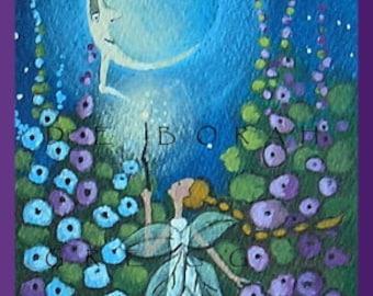 Moon Power  a tiny  aceo Fairy Garden PRINT from my Original