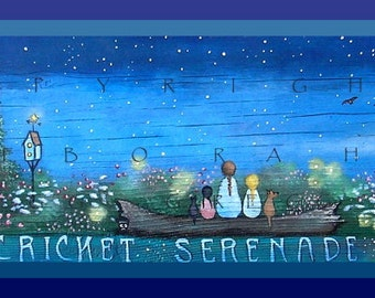 A Cricket Serenade  a small Summer Night PRINT by Deborah Gregg