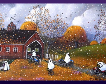 One Last Bike Ride Before The Snows Fall  a Small Sheep Autumn Covered Bridge PRINT by Deborah Gregg
