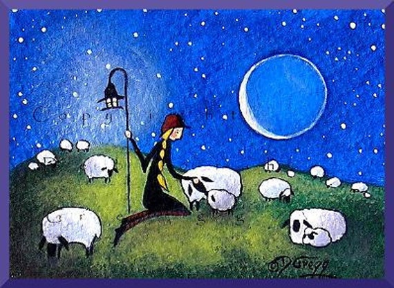 I Am Here For You   A Tiny Sheep Shepherdess Love PRINT  Aceo Size  from the original by Deborah Gregg