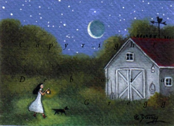 Oh Country Life  Barn Lantern Dog Summer Night  ACEO Original Painting