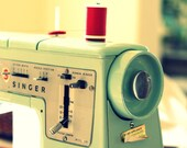 Vintage Singer Sewing Machine Photography, Seamstress, Still Life, Nostalgic, mint green, red thread