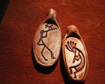 Two Flute Players Rock Art Ceramic Pendants Beads