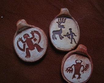Collection of Three Rock Art Design Ceramic Pendants Beads