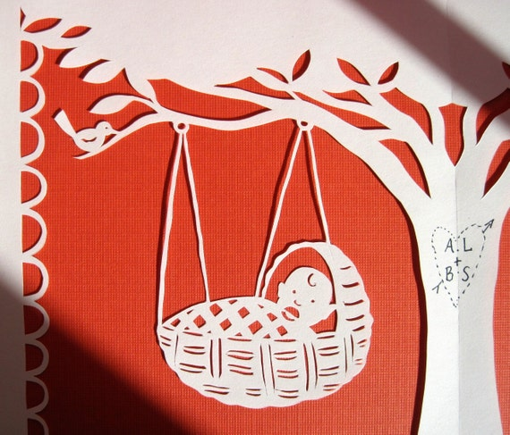 Twin Birth announcement, Babies in the tree top