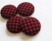 Set of 4 Red and Black Plaid Large Fabric Covered Buttons
