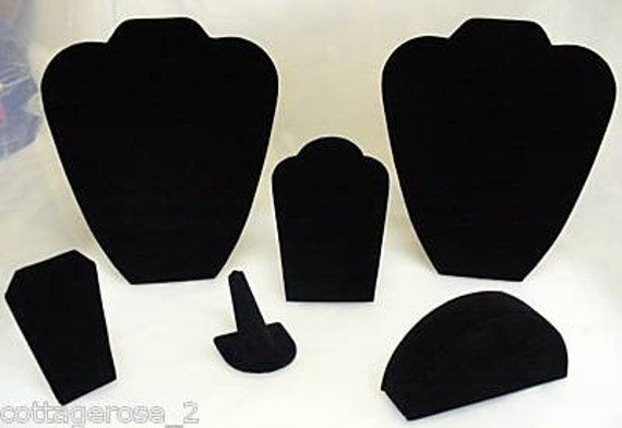 6 Piece Black Velvet Professional Necklace Earrings Bracelet Watch Jewelry Display Set