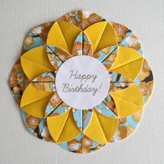 Blue and Gold Origami Happy Birthday Card - photo#18