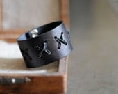 Cow Hide Leather Cuff with Kangaroo Lacing in Black Distressed Finish