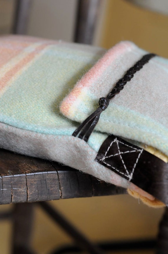 SOLD: Repurposed Blanket Mini Messenger Style Tote in Muted Pastels AVAILABLE NOW