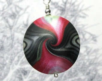 Red & Black Pendant Necklace - Polymer Clay Art Jewelry - Gift for Her - Art Clay Necklace Gift - Unique Jewelry Gift for Women, Mom Gift