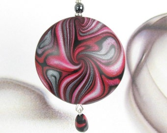 Red & Black Polymer Clay Art Pendant Necklace - Unique Polymer Clay Jewelry - Red Black Clay Necklace - Womens Gift Jewelry - Under 25