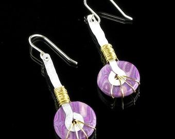 Unique Handmade Earrings, Polymer Clay Tribal Drop Earrings, Purple Art Jewelry, Unique Gift for Women, Mom Gift, Boho, Girlfriend Gift