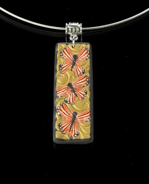 Butterfly Necklace - Polymer Clay Jewelry - Butterfly Pendant - Art Jewelry - Jewelry Gift - Unique Gift Idea - Earthy Jewelry