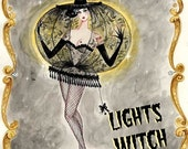 Lights Witch 12x16inch Hand Glittered Print