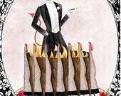 Devils food cake 5x7inch  hand glittered greetings card