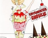 Knickerbocker Ghoulie 5x7 inch handmade glittery greetings card