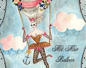 Hot Hair Balloon 5x7  inch Hand Glittered greetings card