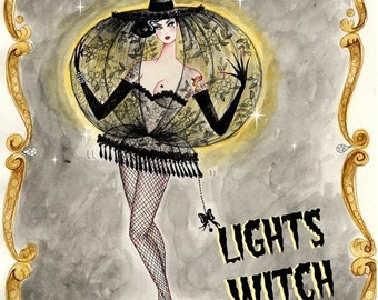 Lights Witch 6x8inch hand glittered print