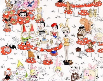 Land of Tea Parties 12 x 16 inch hand glittered Print