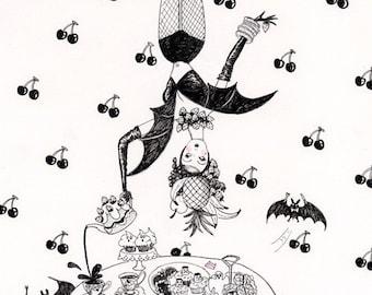 Fruit Bat 6x8inch glittery print