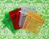 50 Organza Bags, 4x6 inch, multi color, emerald, red, silver, gold